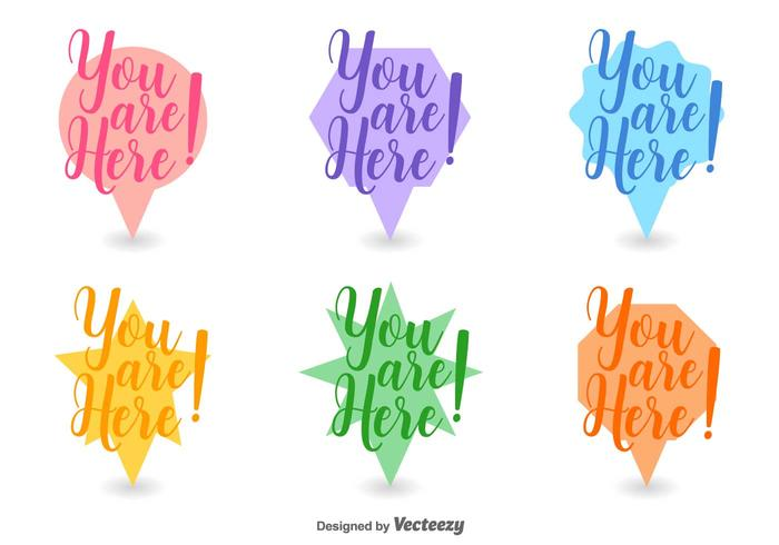 Abstract You Are Here Icon Set Vector