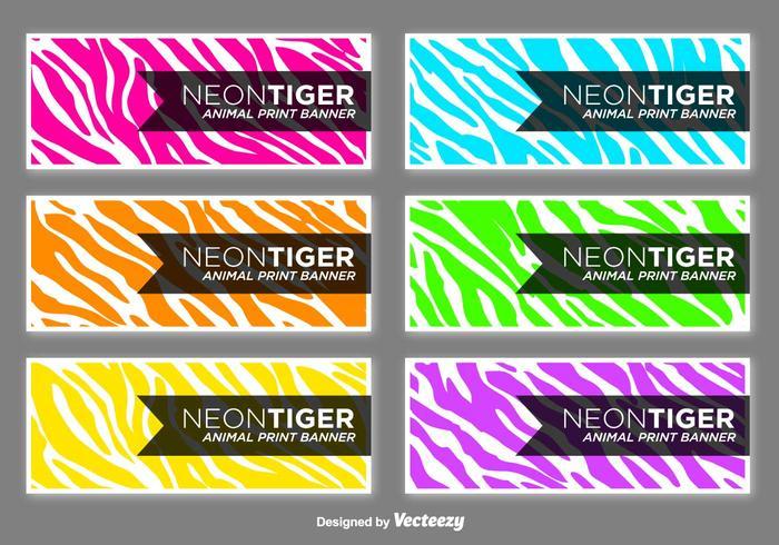 Vector Colorful Zebra Stripes Banners Set - Presentation Cards