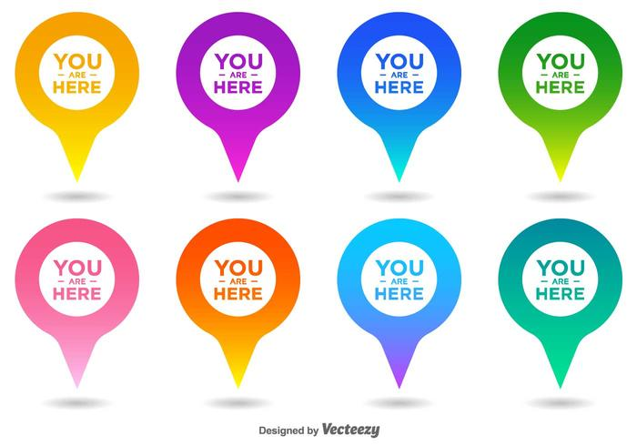 Vector You Are Here Map Pointer Icon Set