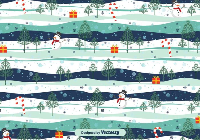 Patrón paisaje nevado de Navidad del vector