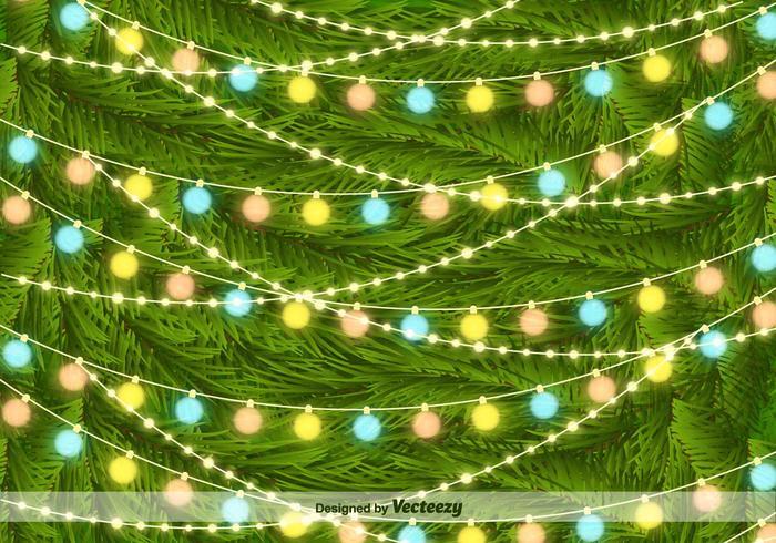 Luces del árbol de navidad en el fondo agujas de pino vectorial