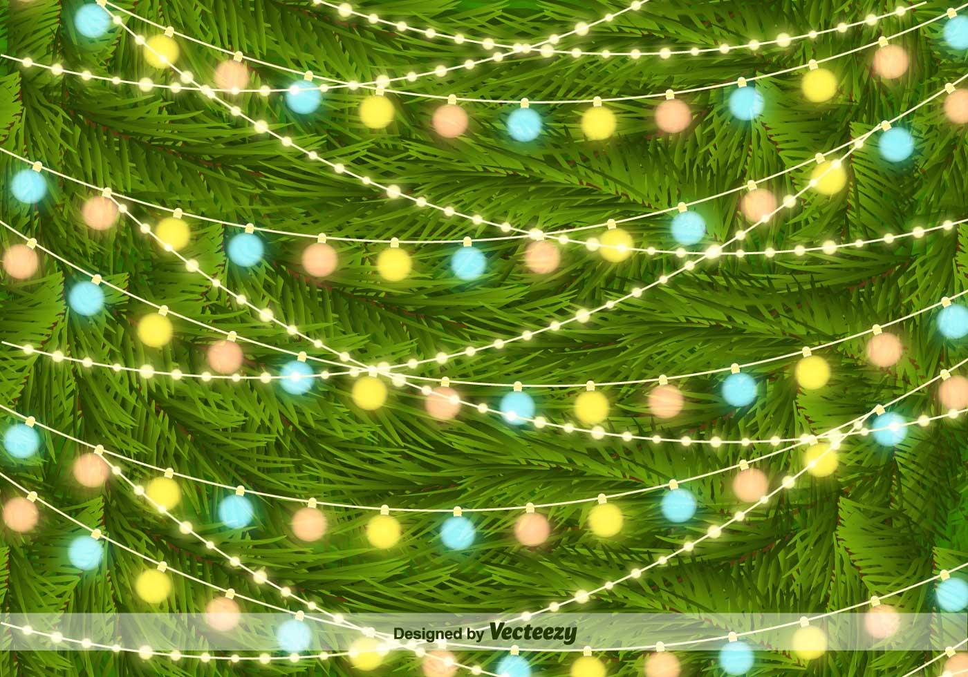 Christmas Tree Lights On Pine Needles Vector Background