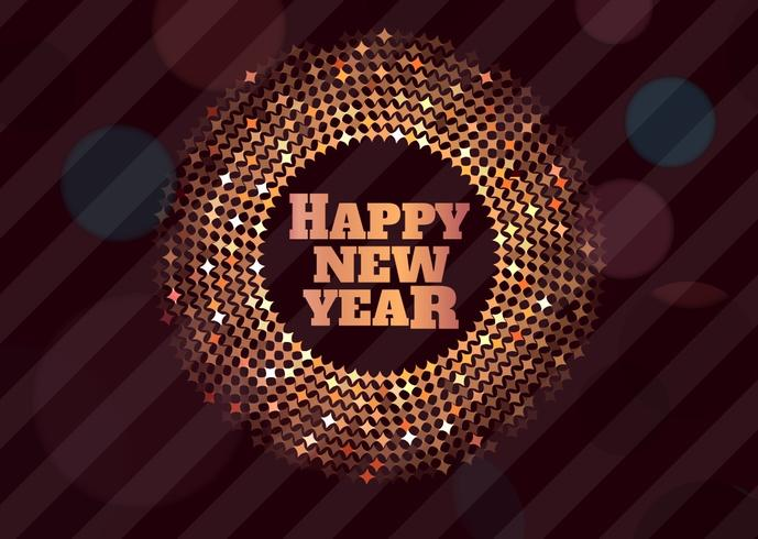 Disco Happy New Year Golden Vector Background