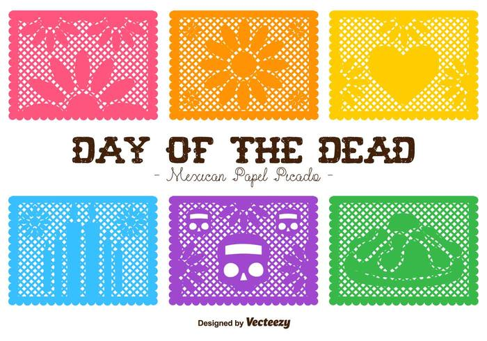 Vector Day of the Dead Cut Out Paper Compositions