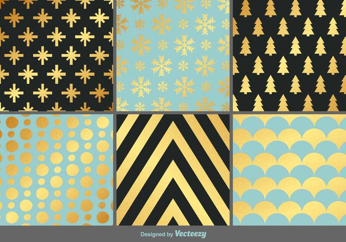 Elegant Gold Christmas Vector Patterns