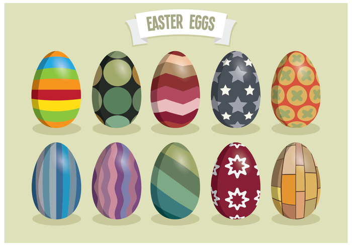 Modern Colorful Easter Eggs Vector