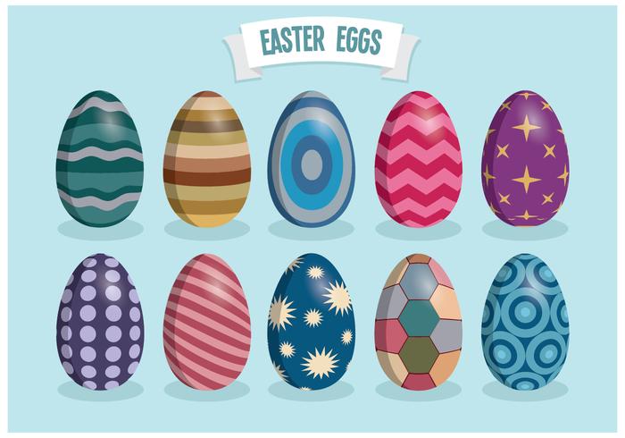 Retro Colorful Easter Eggs Vectors
