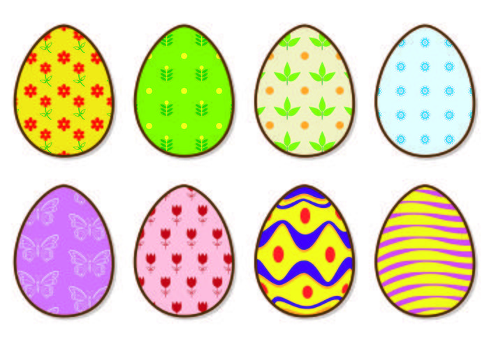 Icons Of Bright Easter Eggs Vectors