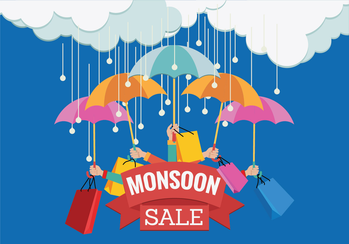vector sale banner for monsoon season with hands and