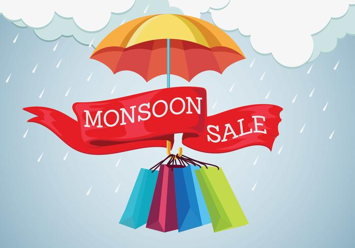 Vector Illustration Sale Banner with Rain Drops and Umbrella