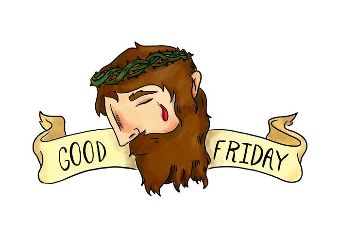 Good Friday Vector Watercolor Illustration of Jesus With Crown of Thorns