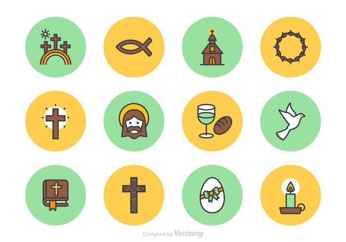 Viernes Santo y Pascua lineal del vector Iconos