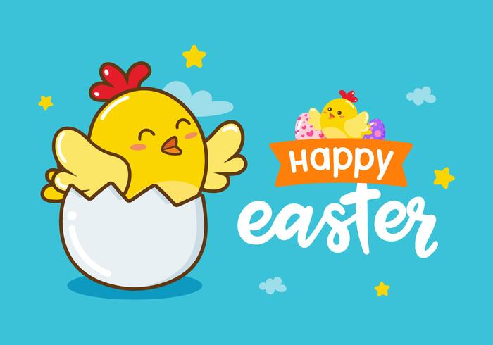 Fondo feliz del polluelo de Pascua del vector