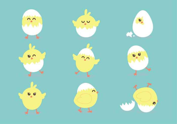 Easter Chick Cute Icons vector