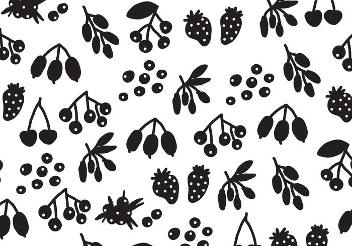 Silhouette Black Berries Vectorpatroon