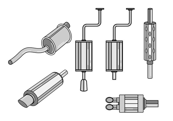 Car Muffler Vector Set