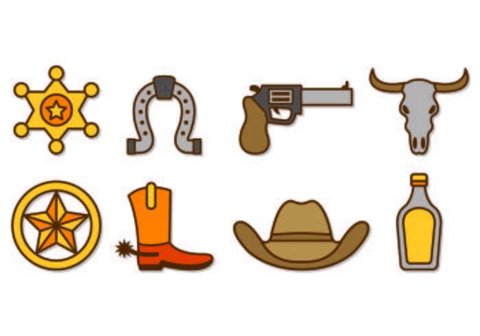 Conjunto de vaqueiro ou Gaucho Icons