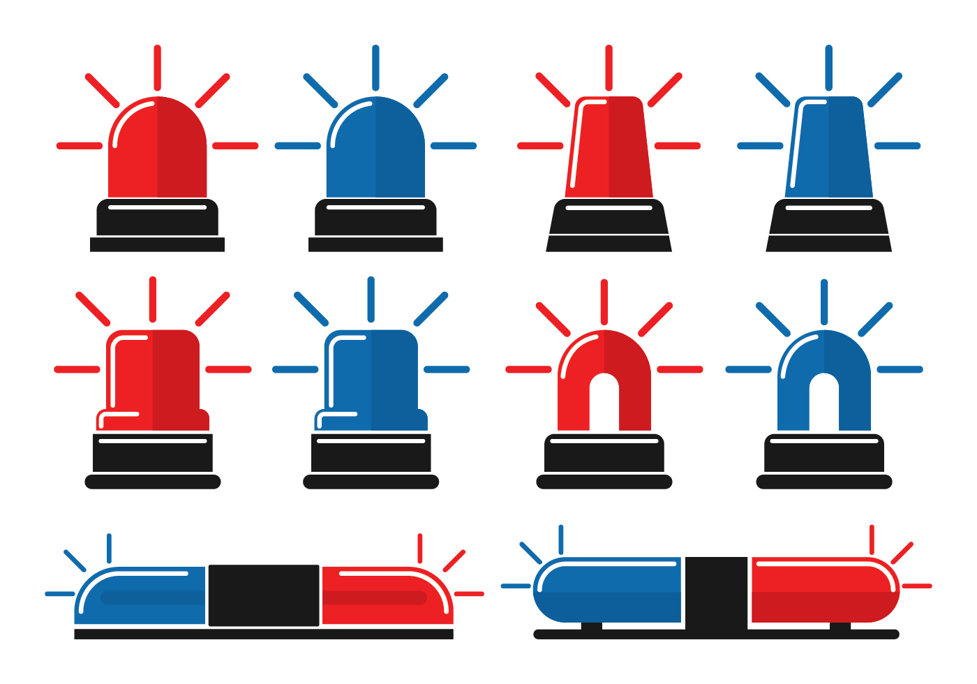 Flat Police Lights Icon Pack Download Free Vector Art