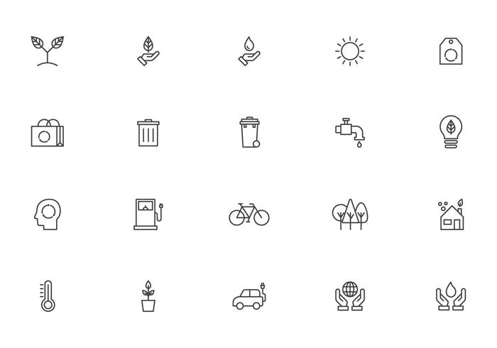 Linear Earth Day Icon Vectors