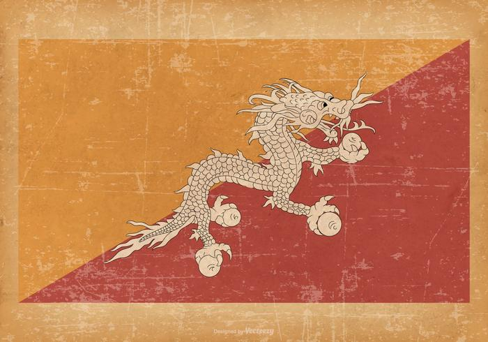 Flag of Bhutan on Grunge Background