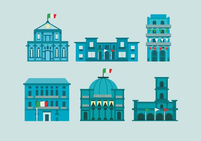 Naples City Italian Historical Building Vector Illustration