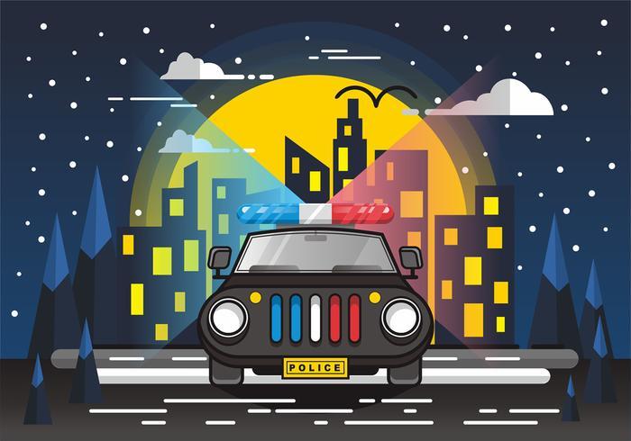Policía Luces brillantes en el diseño del vector de la ciudad