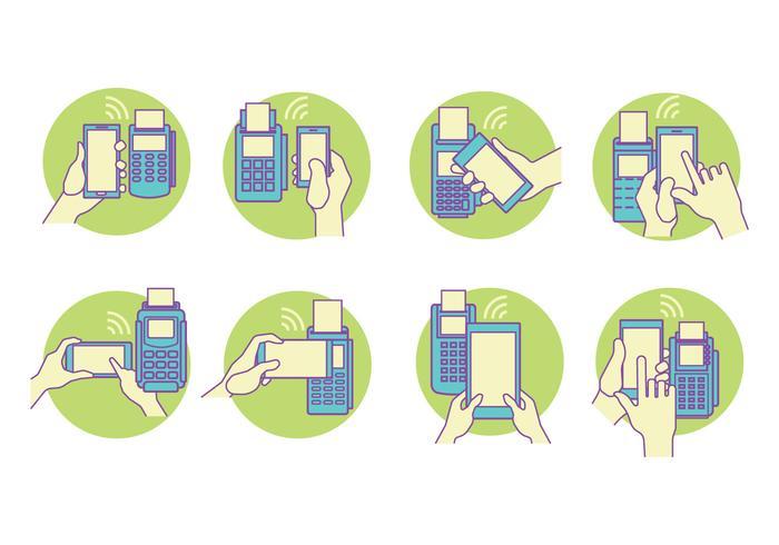 Azul y verde del concepto de vector Conjunto NFC