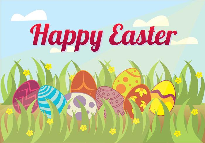 Easter Egg Hunt in the Grass Background Vector