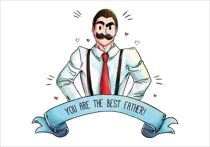 Cute Daddy With Mustache for Father's Day Vector