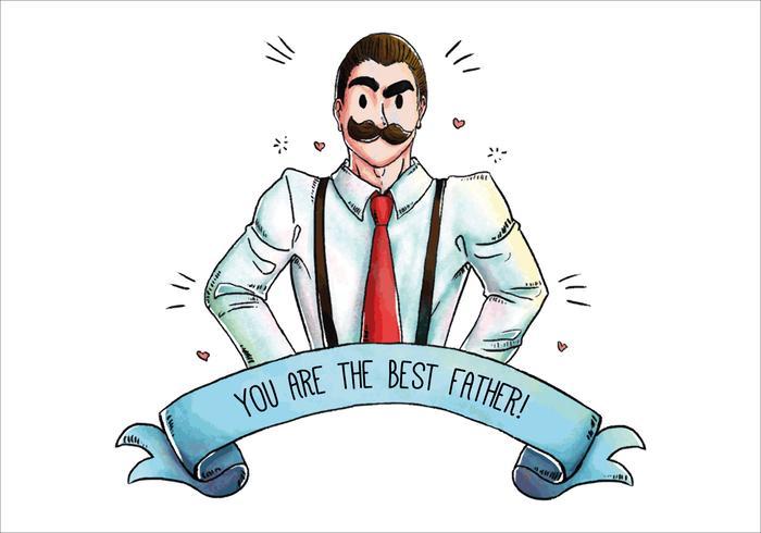 Mignon papa moustachu pour le vecteur Fête des Pères
