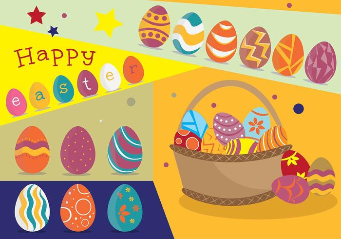 Funky Easter Egg Poster with Basket Vector