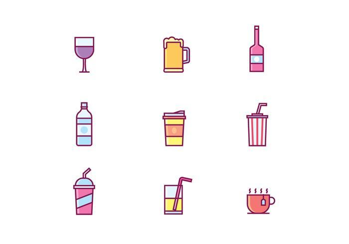 Vector O jogo dos ícones bebidas