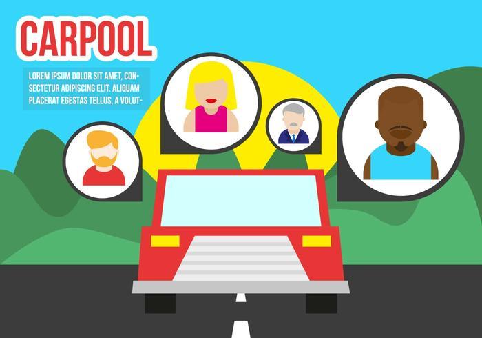 Carpool Flat Illustration Vector