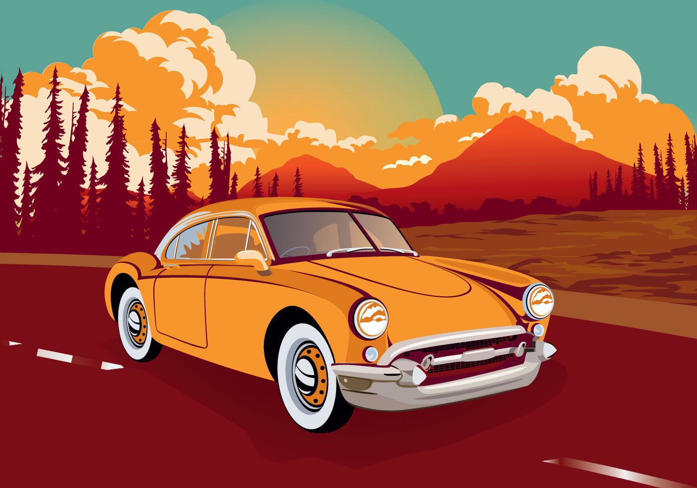 Vintage Classic Car Across The Road Vector Illustration - Download Free Vectors, Clipart Graphics & Vector Art