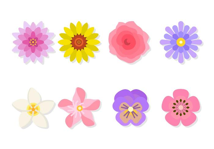 Vecteurs fleurs plates vecteur