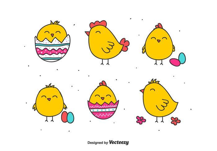 Doodle Easter Chick Vectors