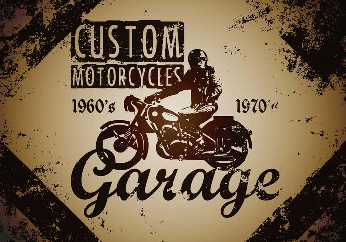 Custom Motorcycle Vintage Illustration Vector