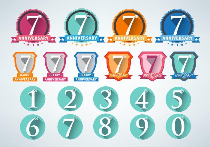 Anniversary Numbers Design Vector Set