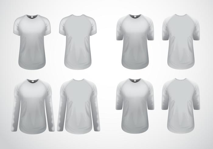 White Clean Raglan T-Shirt Template Vector