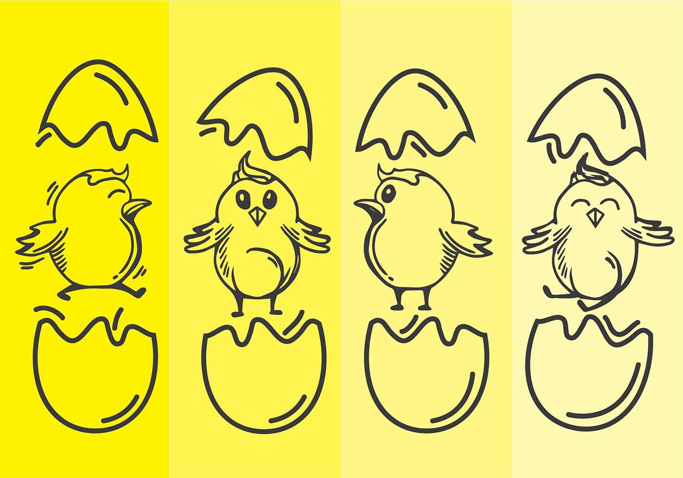 Easter Chick Line Art Vector Download Free Vector Art Stock