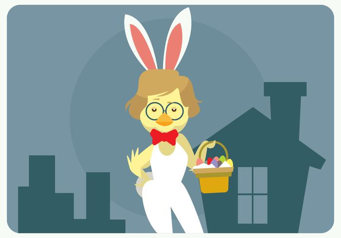 Hipster Easter Chick With Bunny Costume Vector