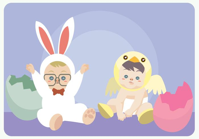 Babies With Bunny And Chick Costume Vector
