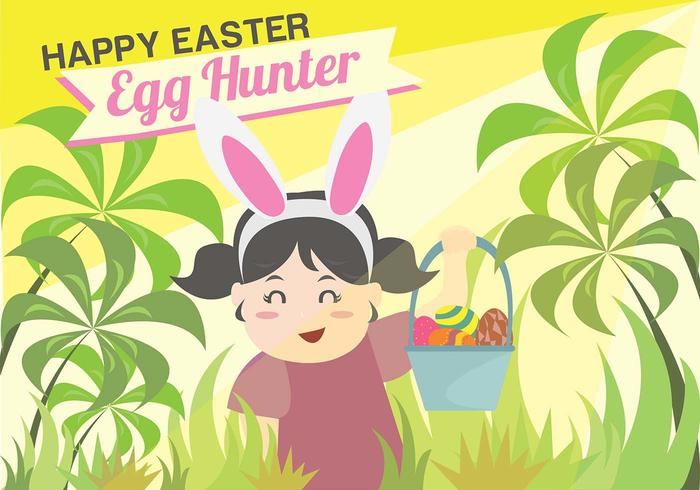 Easter Egg Hunt Kids achtergrond vector