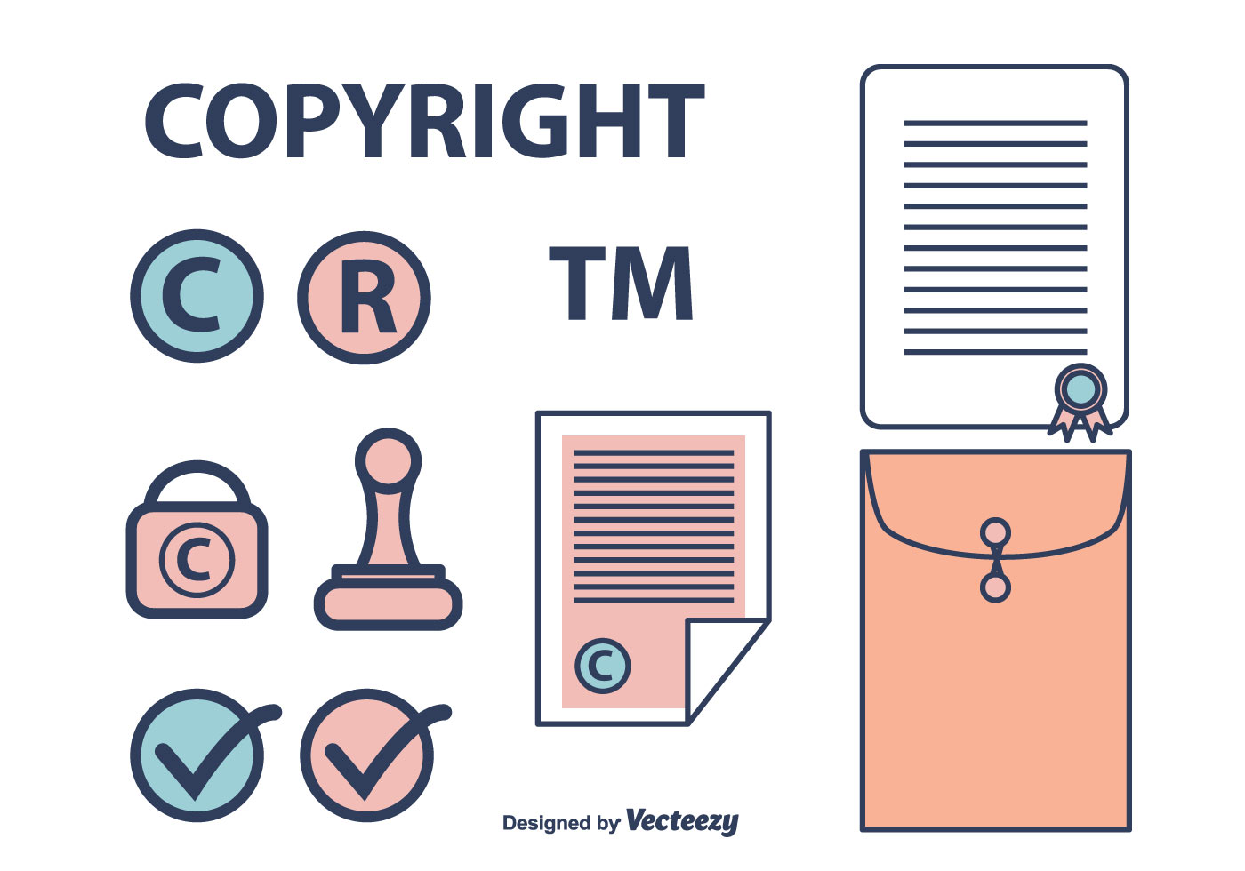 copyright icons set download free vector art stock
