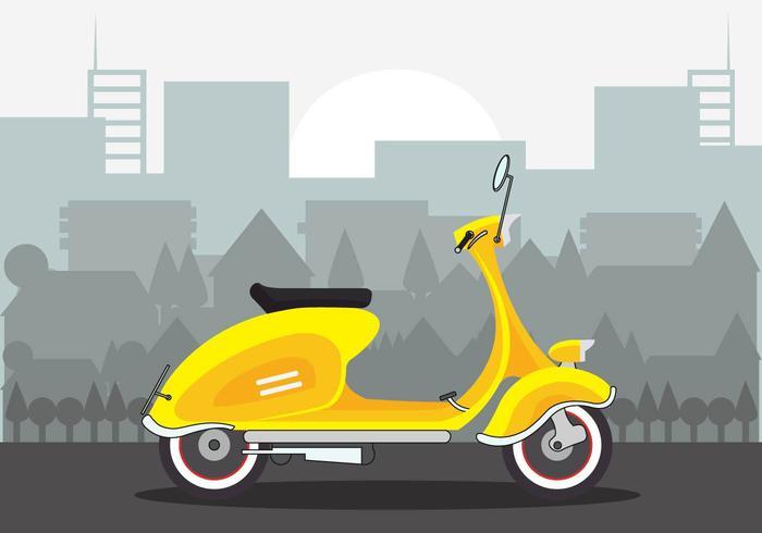 Beautiful Yellow Lambretta Scooter Vector