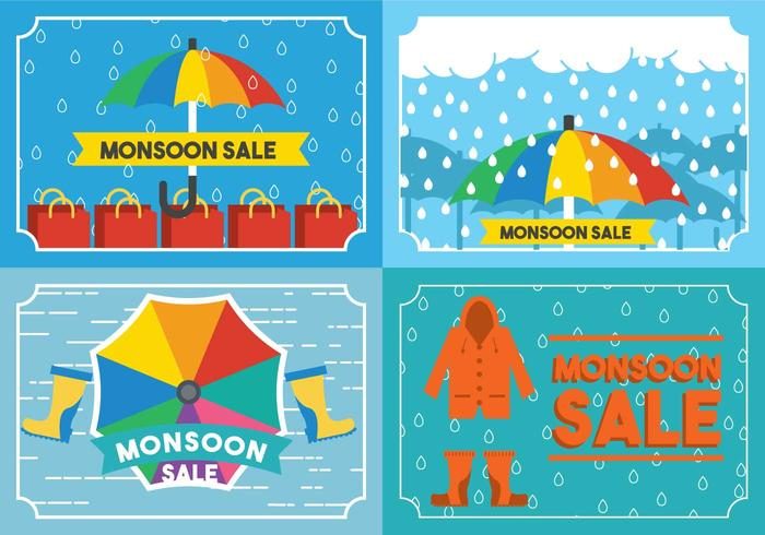 Monsoon Card Set Vector