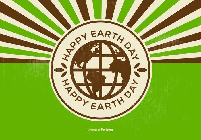 Retro Happy Earth Day Illustration