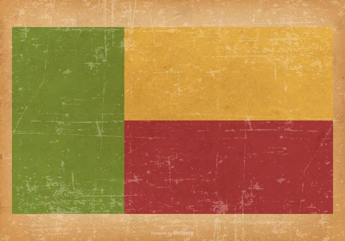 Flag of Benin on Grunge Background