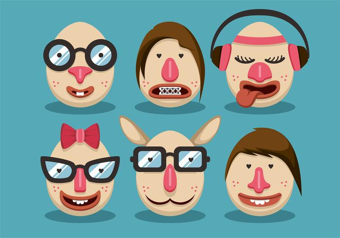 Woman Hipster Easter Vector Set