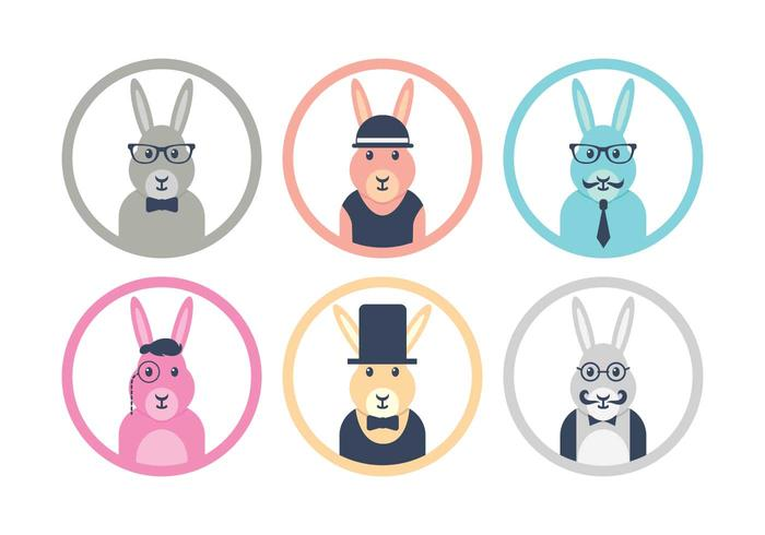 Hipster easter bunny icon set